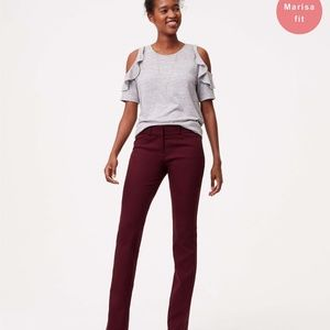 LOFT straight leg textured pants in Marisa fit